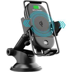 Letscom Wireless Car Charger Auto-Clamping,15W Qi Fast Charging Car Charger Mount, Windshield Dashboard Air Vent Phone Holder - Black