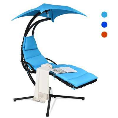 Costway Hanging Swing Chair Hammock Chair w/ Pillow Canopy Stand Blue\Navy\Orange