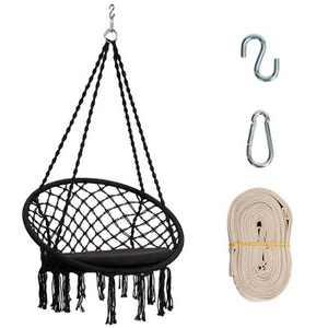 Costway Hammock Chair Macrame Swing Cushion Hanging Hardware Kit Indoor Outdoor Beige\ Black\Turquoise