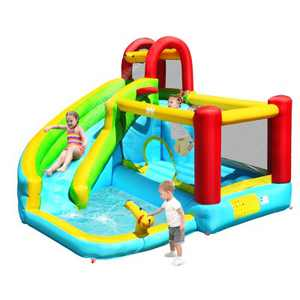 Costway Inflatable Kids Water Slide Jumper Bounce House Splash Water Pool Without Blower