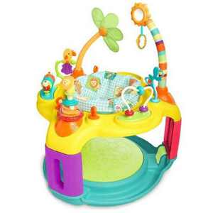 Bright Starts Springin' Safari Bounce A Round 12 Activity Toy Infant Play Center Chair w/ Adjustable Height & Bouncer Pad, For 6 to 12 Months