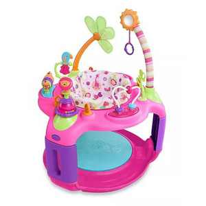 Bright Starts Sweet Safari Bounce A Round Entertainer 12 Activity Toy Infant Play Center Chair w/ Adjustable Height & Bouncer Pad, For 6 to 12 Months