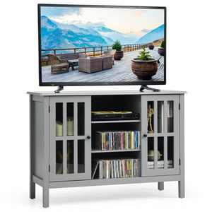 Costway Wood TV Stand Entertainment Media Center Console for TV's up to 50'' Grey