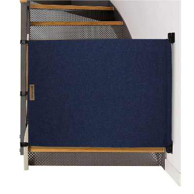 The Stair Barrier Regular Wall to Banister Retractable Fabric Baby and Pet Safety Gate for Staircase, 36 to 43 Inch, Beyond Sheep Indigo