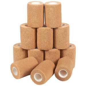 Zodaca 12 Pack Self Adhesive Bandage Wraps, Cohesive Tape, Tan Brown, 3 In x 5 Yards