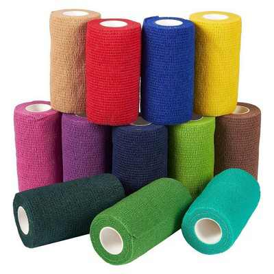 Juvale 12 Pack Self Adhesive Bandage Wraps, Cohesive Tape, in 12 Colors, 4 In x 5 Yard