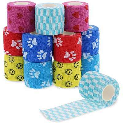 Juvale 12 Pack Self Adhesive Bandage Wraps, Cohesive Tape, in 6 Colors and Patterns, 2 In x 5 Yard