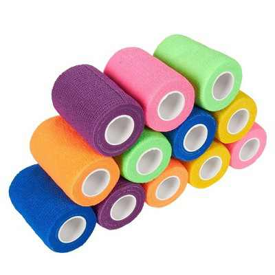 Juvale 12 Pack Self Adhesive Bandage Wraps, Cohesive Tape, in 6 Colors, 3 In x 5.57 Ft