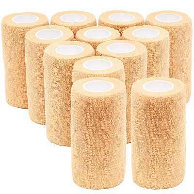 Juvale 12 Pack Self Adhesive Bandage Wraps, Cohesive Tape, Tan Brown, 4 In x 5 Yards