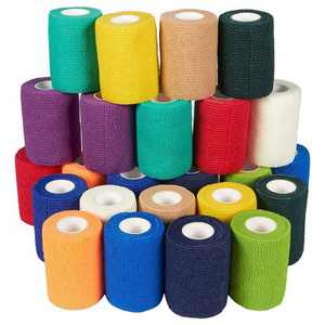 Juvale 24 Pack Self Adhesive Bandage Wraps, Cohesive Tape, in 12 Colors, 3 In x 5 Yard