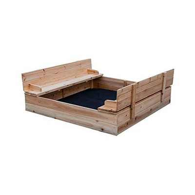 Be Mindful 50 x 48-Inch Solid Wood Natural Finish Untreated Extra Large Outdoor Kids Sandbox with Lid Cover and Folding Bench Seat