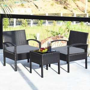 Costway 3PC Patio Rattan Furniture Set Coffee Table Conversation Sofa Cushioned