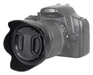 Bower - Pro Series Tulip Lens Hood and Lens Cap for Most 52mm Lenses - Black