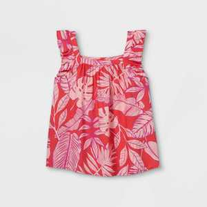 Girls' Printed Flutter Sleeve Woven Top - Cat & Jack