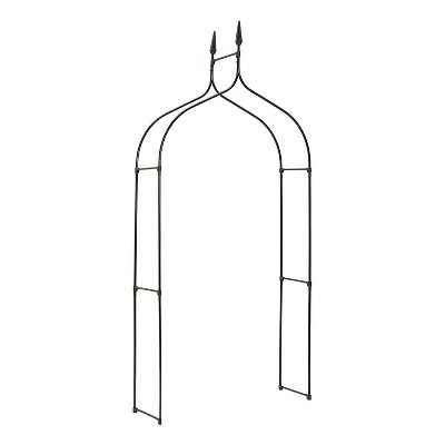 Gardman R351 Gothic 7.5 Foot Outdoor Backyard Lawn Garden Decorative Metal Trellis Arch for Hanging Potted Plants and Climbing Vines, Black