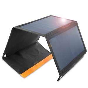 Wasserstein 21W Portable Solar Panel Charger - 2 USB Ports Foldable Solar Power Generator for iPhone, iPad, Android Phones and Tablets