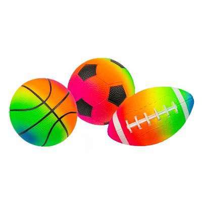 Pool Central Set of 3 Rainbow Pebble Textured PVC Sports Water Sports Balls