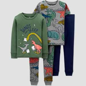 Baby Boys' 4pc Dino Snug Fit Pajama Set - Just One You made by carter's Gray/Green/Navy