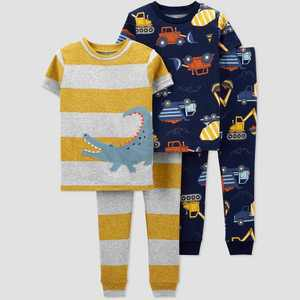 Baby Boys' 4pc Alligator/Construction Snug Fit Pajama Set - Just One You made by carter's Gray/Gold/NavY