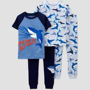 Baby Boys' 4pc Shark Snug Fit Pajama Set - Just One You made by carter's Blue/Navy