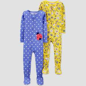 Baby Girls' 2pk Lady Bug/Floral Footed Pajama - Just One You made by carter's Blue