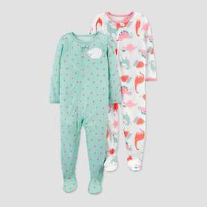 Baby Girls' 2pk Sheep/Dino Footed Pajama - Just One You made by carter's Green