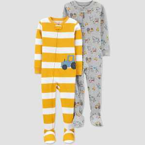 Baby Boys' 2pk Tractor Footed Pajama - Just One You made by carter's Yellow