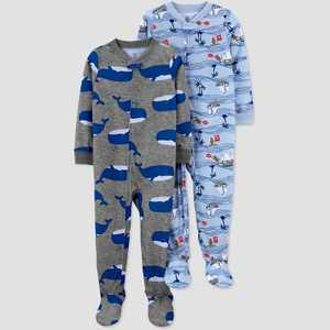 Baby Boys' 2pk Pirate/Whale Footed Pajama - Just One You made by carter's Blue