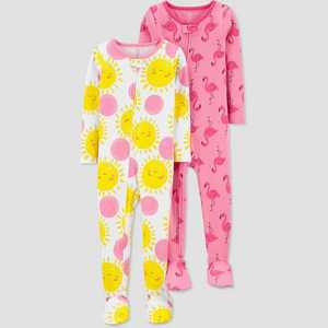 Baby Girls' 2pk Flamingo/Sun Footed Pajama - Just One You made by carter's Pink