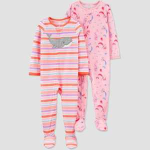 Baby Girls' 2pk Whale/Mermaid Footed Pajama - Just One You made by carter's Pink