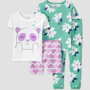 Baby Girls' 4pc Panda Snug Fit Pajama Set - Just One You made by carter's Purple