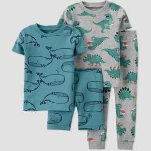 Baby Boys' 4pc Whale Dino Printed Snug Fit Pajama Set - Just One You made by carter's
