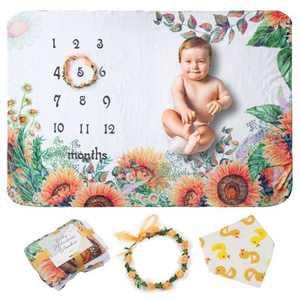 "Zodaca Baby Milestone Fleece Blanket, Sunflower, Baby Gifts for Birthday 39.4"" x 59"""