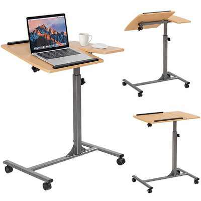 Costway Adjustable Laptop Notebook Desk Table Stand Holder Swivel Home Office Wheels New