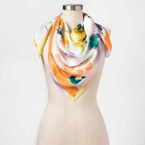 Women's Printed Silk Square Scarf - A New Day