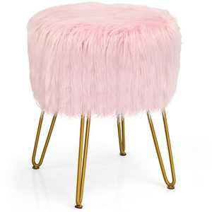 Costway Faux Fur Vanity Chair Makeup Stool Furry Padded Seat Round Ottoman Pink/White