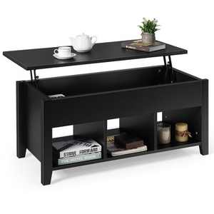 Costway Lift Top Coffee Table w/ Storage Compartment Shelf Living Room Furniture Black