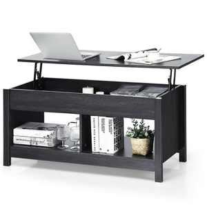 Costway Lift Top Coffee Table w/ Hidden Storage Compartment & Lower Shelf Rustic Ivory/Brown/Black