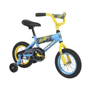 Dynacraft 12 Inch Magna Hot Rod Bicycle with Removable and Adjustable Training Wheels and Foam Safety Pad Accessories for Kids, Blue and Yellow