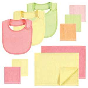 Hudson Baby Infant Girl Rayon from Bamboo Bib, Burp Cloth and Washcloth 10Pk, Citrus, One Size