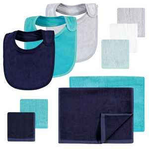 Hudson Baby Infant Boy Rayon from Bamboo Bib, Burp Cloth and Washcloth 10Pk, Navy Teal, One Size
