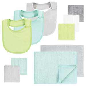 Hudson Baby Unisex Baby Rayon from Bamboo Bib, Burp Cloth and Washcloth 10Pk, Gray Mint Lime, One Size