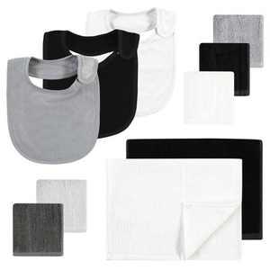 Hudson Baby Unisex Baby Rayon from Bamboo Bib, Burp Cloth and Washcloth 10Pk, Black White, One Size