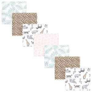Hudson Baby Infant Girl Cotton Flannel Receiving Blankets Bundle, Modern Pink Safari, One Size