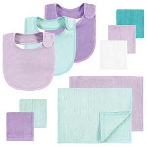 Hudson Baby Infant Girl Rayon from Bamboo Bib, Burp Cloth and Washcloth 10Pk, Purple Mint, One Size
