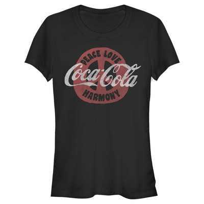 Junior's Coca Cola Unity Peace Love Harmony T-Shirt