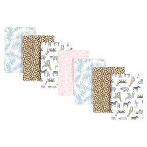 Hudson Baby Infant Girl Cotton Flannel Burp Cloths, Modern Pink Safari, One Size