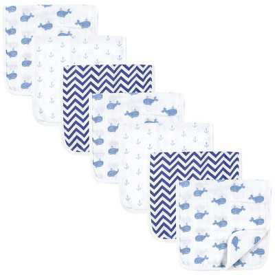 Hudson Baby Infant Boy Muslin Burp Cloth 7pk, Blue Whales, One Size