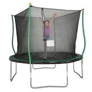 Bounce Pro 10' Trampoline, Flash Light Zone, Classic Safety Enclosure, Green/Black