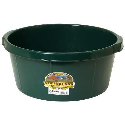 Little Giant P65GREEN 6.5 Gallon DuraFlex Plastic All Purpose Utility Tub with Hand Grips for Farm, Ranch, Garden, Home, or Shop, Green